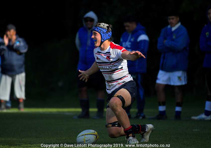 Action from the Transit Coachline 1st XV Tournament match between St Patrick's College (Town) and Hastings Boys' High School at Jerry Collins Stadium in Porirua, New Zealand on Saturday, 18 May 2019. Photo: Dave Lintott / lintottphoto.co.nz