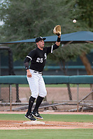 AZL White Sox first baseman Sam Abbott (25) prepares to catch a throw during an Arizona League game against the AZL Diamondbacks at Camelback Ranch on July 12, 2018 in Glendale, Arizona. The AZL Diamondbacks defeated the AZL White Sox 5-1. (Zachary Lucy/Four Seam Images)
