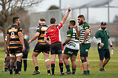 Referee Brandon Roberts issues a yellow card to  Gafatasi Su'a as Manurewa Captain Matthew Vaai watches. Counties Manukau Club Rugby game between Manurewa and Bombay played at Mountfort Park Manurewa on Saturday June 2nd 2018. Bombay won the game 27 - 20 after leading 20 - 5 at halftime. <br /> Manurewa Kidd Contracting 20 - Caleb Fa'alili, William Raea, Willie Tuala, Viliami Taulani tries.<br /> Bombay 27 - Liam Daniela, Sepuloni Taufa, Talaga Alofipo tries, Ki Anufe 3 conversions, Ki Anufe 2 penalties.<br /> Photo by Richard Spranger.