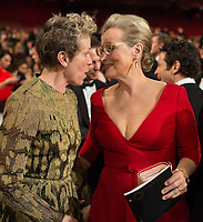 Oscar&reg;-nominee Meryl Streep and Oscar-winner Frances McDormand speak with each other during the live ABC Telecast of the 90th Oscars&reg; at the Dolby&reg; Theatre in Hollywood, CA on Sunday, March 4, 2018.<br /> *Editorial Use Only*<br /> CAP/PLF/AMPAS<br /> Supplied by Capital Pictures