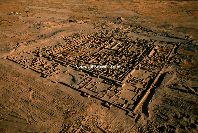 Aerial of Gonur, an important center of Oxus culture, walled colony with central citadel; Oxus Civilization; Turkmenistan; Gonor Depe site; Victor Sarianidi; Archaeology; BMAC complex