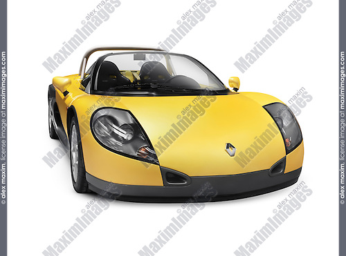 Yellow 1999 Renault Sport Spider Roadster French sports car isolated on white background with clipping path