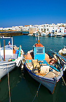Harbour and fishing boats in Naoussa, Island of Paros, Greece