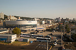 Gangneung Station, Oct 30, 2017 : Gangneung Station (L) for KTX (Korea Train eXpress) or high-speed rail system, is seen under construction in Gangneung, east of Seoul, South Korea. The Gangneung KTX line will connect the Incheon International Airport to Gangneung. The 2018 PyeongChang Winter Olympics will be held for 17 days from February 9 - 25, 2018. The opening and closing ceremonies and most snow sports will take place in PyeongChang county. Jeongseon county will host Alpine speed events and ice sports will be held in the coast city of Gangneung. (Photo by Lee Jae-Won/AFLO) (SOUTH KOREA)