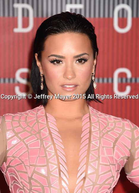 LOS ANGELES, CA - AUGUST 30: Singer/actress Demi Lovato arrives at the 2015 MTV Video Music Awards at Microsoft Theater on August 30, 2015 in Los Angeles, California.