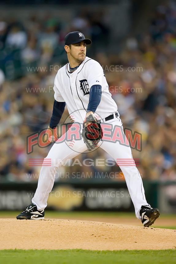 Detroit Tigers starting pitcher Justin Verlander (35) in action at Comerica Park in Detroit, MI, Sunday, April 27, 2008.