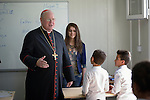 Cardinal Timothy Dolan, the archbishop of New York, visits with students displaced by war at the Al Bishara School run by the Dominican Sisters of St. Catherine of Siena in Ankawa, near Erbil, Iraq, on April 9, 2016. <br /> <br /> Dolan, chair of the Catholic Near East Welfare Association, is in Iraqi Kurdistan with other church leaders to visit with Christians and others displaced by ISIS. The Dominican Sisters were themselves displaced by ISIS, and have established schools and other ministries among the displaced.<br /> <br /> CNEWA is a papal agency providing humanitarian and pastoral support to the church and people in the region.