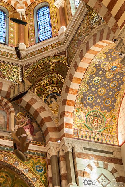 Interior of Basilica Notre-Dame of the Garde, Marseille, France.