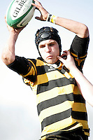 R.B.A.I. flanker Jamie Lusk claims this lineout ball during the Northern Bank Schools Cup Final at Ravenhill. Result Wallace 0pts R.B.A.I. 15pts.