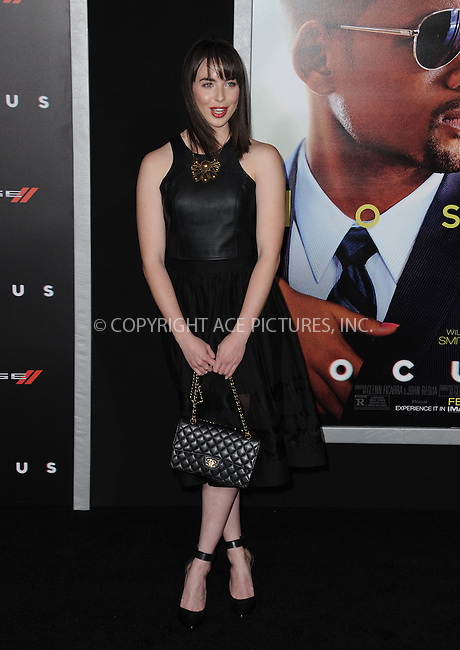 WWW.ACEPIXS.COM<br /> <br /> February 24 2015, New York City<br /> <br /> Ashleigh Brewer arriving at the premiere of 'Focus' at the TCL Chinese Theatre on February 24, 2015 in Hollywood, California.<br /> <br /> By Line: Peter West/ACE Pictures<br /> <br /> <br /> ACE Pictures, Inc.<br /> tel: 646 769 0430<br /> Email: info@acepixs.com<br /> www.acepixs.com