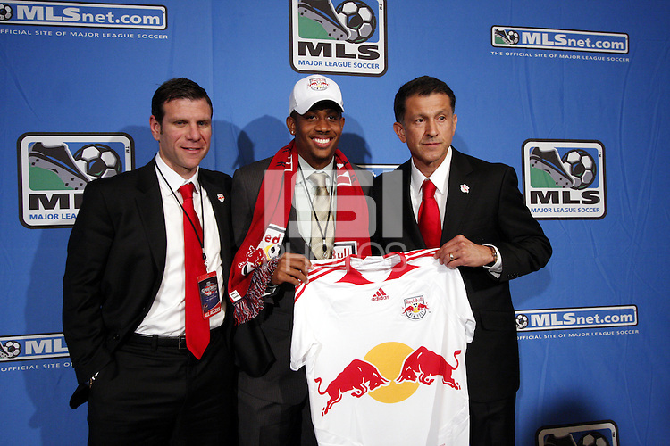 New York Red Bulls Sporting Director Jeff Agoos- #11 overall pick Jeremy Hall- Head Coach Juan Carlos Osorio. MLS Superdraft 2009 held at Convention and Visitors Center, St Louis , MO January 15 2009.