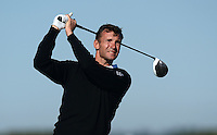 Ex-Footballer Andriy Shevchenko of Ukraine tees off during Round 1 of the 2015 Alfred Dunhill Links Championship at the Old Course, St Andrews, in Fife, Scotland on 1/10/15.<br /> Picture: Richard Martin-Roberts | Golffile
