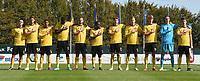 20190910 - TUBIZE , BELGIUM : Belgian team with Maarten Vandevoordt (1)  Robbe Quirynen (2)   Luca Lissens (3)   Maxime Thiel (4)   Rob Nizet (5)   Nicolas Raskin (6)   Dylan Mbayo (7)    Amadou Onana Mvom (8)   Antoine Colassin (9)   Charles De Ketelaere (14)   Ignace Van Der Brempt (15) pictured during the friendly  soccer match between Men's under 19 teams of  Belgium and Czech Republic , in Tubize , Belgium . Tuesday 10th September 2019 . PHOTO SPORTPIX.BE / DIRK VUYLSTEKE