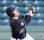 First baseman Greg Harrison (22) of the Furman University Paladins in a game against the Toledo Rockets on Sunday, February 16, 2013, at Fluor Field at the West End in Greenville, South Carolina. The game was part of the First Pitch Invitational. (Tom Priddy/Four Seam Images)