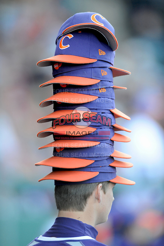 Rally Stack Unidentified Clemson Tigers player has Rally Stack on head (Photo by Tony Farlow/Four Seam Images)
