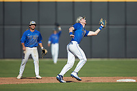 Duke Blue Devils third baseman Erikson Nichols (42) catches a pop fly during the game against the Coastal Carolina Chanticleers at Segra Stadium on November 2, 2019 in Fayetteville, North Carolina. (Brian Westerholt/Four Seam Images)