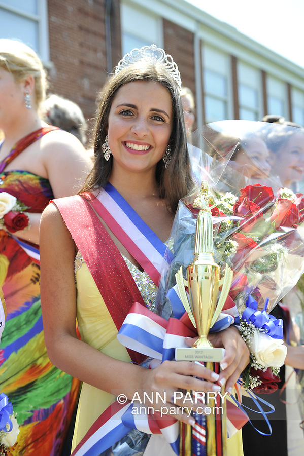 Miss Wantagh Pageant 2012 winner Hailey Orgass with trophy at crowning ceremony, a long-time Independence Day tradition on Long Island, held Wednesday, July 4, 2012, in front of Wantagh School, New York, USA. Since 1956, the Miss Wantagh Pageant, which is not a beauty pageant, has crowned a high school student based mainly on academic excellence and community service.
