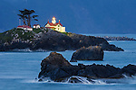 Battery Point Lighthouse in evening light, Crescent City, Del Norte County, California