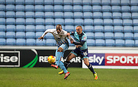 Michael Harriman of Wycombe Wanderers battles Kyel Reid of Coventry City during the The Checkatrade Trophy - EFL Trophy Semi Final match between Coventry City and Wycombe Wanderers at the Ricoh Arena, Coventry, England on 7 February 2017. Photo by Andy Rowland.