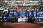 UNIVERSITY PARK, PA - MARCH 25: Marc Blais-Antoine of Ohio State University holds up the first place trophy for the epee competition during the Division I Men's Fencing Championship held at the Multi-Sport Facility on the Penn State University campus on March 25, 2018 in University Park, Pennsylvania. (Photo by Doug Stroud/NCAA Photos via Getty Images)