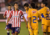 Chivas USA veteran defender Claudio Suarez (l). Los Tigres de UANL defeated the Chivas USA 2-1 during a 2009 SuperLiga match at Home Depot Center stadium in Carson, California on Saturday evening June 20, 2009.   .