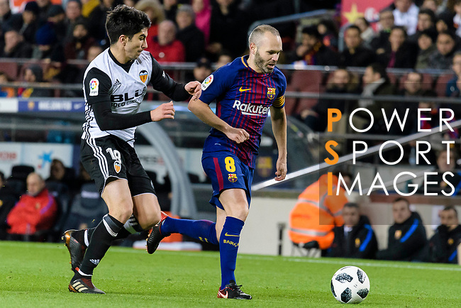 Andres Iniesta of FC Barcelona (R) in action against Carlos Soler Barragan of Valencia CF (L) during the Copa Del Rey 2017-18 match between FC Barcelona and Valencia CF at Camp Nou Stadium on 01 February 2018 in Barcelona, Spain. Photo by Vicens Gimenez / Power Sport Images