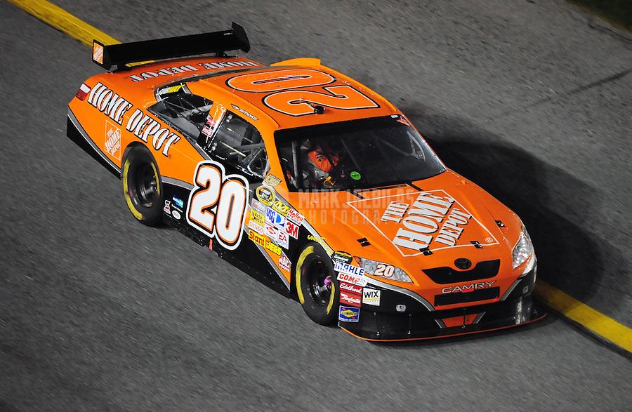 Feb 9, 2008; Daytona, FL, USA; Nascar Sprint Cup Series driver Tony Stewart (20) during the Bud Shootout at Daytona International Speedway. Mandatory Credit: Mark J. Rebilas-US PRESSWIRE