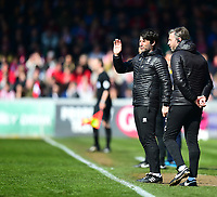 Lincoln City manager Danny Cowley, left, and Lincoln City's assistant manager Nicky Cowley in the technical area<br /> <br /> Photographer Andrew Vaughan/CameraSport<br /> <br /> The EFL Sky Bet League Two - Lincoln City v Cheltenham Town - Saturday 13th April 2019 - Sincil Bank - Lincoln<br /> <br /> World Copyright &copy; 2019 CameraSport. All rights reserved. 43 Linden Ave. Countesthorpe. Leicester. England. LE8 5PG - Tel: +44 (0) 116 277 4147 - admin@camerasport.com - www.camerasport.com