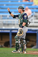 Vermont Lake Monsters catcher Kyle Wheeler (18) signals two outs during a game against the Jamestown Jammers on July 12, 2014 at Russell Diethrick Park in Jamestown, New York.  Jamestown defeated Vermont 3-2.  (Mike Janes/Four Seam Images)