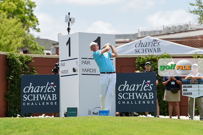 Brandt Snedeker (USA) watches his tee shot on 1 during round 1 of the 2019 Charles Schwab Challenge, Colonial Country Club, Ft. Worth, Texas,  USA. 5/23/2019.<br /> Picture: Golffile | Ken Murray<br /> <br /> All photo usage must carry mandatory copyright credit (© Golffile | Ken Murray)