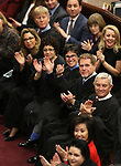 Nevada Supreme Court Justices, from top center, Mark Gibbons, Abbi Silver, Elissa Cadish, Lidia Stiglich, Ron Parraguirre and Chief Justice James Hardesty applaud a member of the crowd during Gov. Steve Sisolak's State of the State address in Carson City, Nev., on Wednesday, Jan. 16, 2019. (Cathleen Allison/Las Vegas Review-Journal)