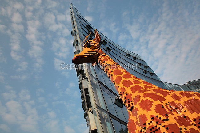 Lego giraffe in front of the Lego Discovery Centre, near the Sony Center on Potsdamerplatz, Berlin, Germany. Picture by Manuel Cohen