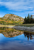 Beehive mountain reflected in salt pond at Sand Beach, Acadia NP, Maine, ME, USA