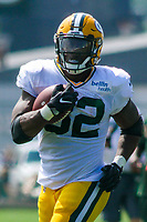 Green Bay Packers running back Devante Mays (32) during a training camp practice on August 29, 2017 at Ray Nitschke Field in Green Bay, Wisconsin.   (Brad Krause/Krause Sports Photography)