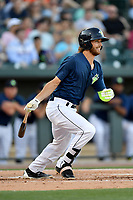 Right fielder Gene Cone (9) of the Columbia Fireflies bats in a game against the West Virginia Power on Friday, May 19, 2017, at Spirit Communications Park in Columbia, South Carolina. West Virginia won, 3-1. (Tom Priddy/Four Seam Images)
