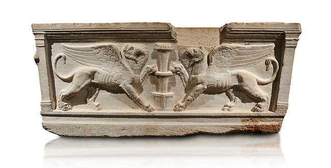 Roman relief sculpted sarcophagus of Achilles from Attica. This side shows two griffin and  bears characteristics of the Late Antonines Period of the Roman Imperial Period between 170-190 AD. Adana Archaeology Museum, Turkey.. Against a white background