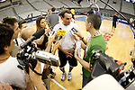 USA's coach MIke Krzyzewski attends the journalists during training session.July 23,2012(ALTERPHOTOS/Acero)