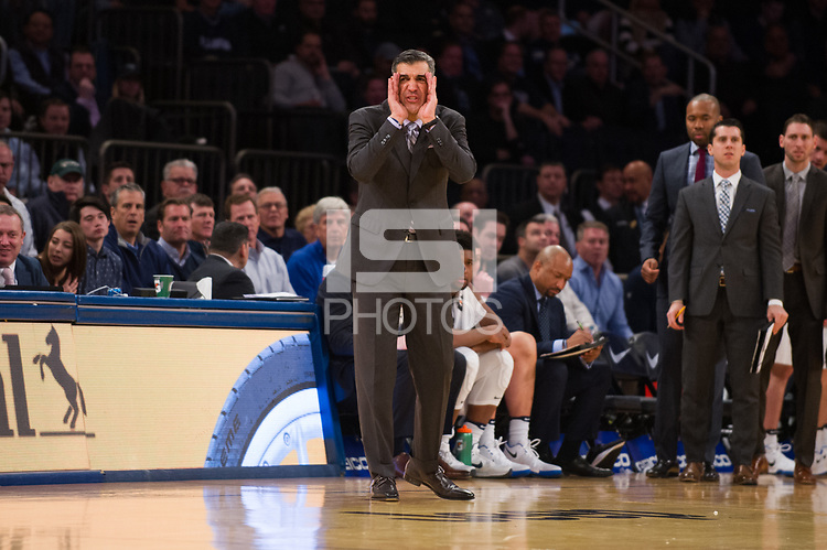 NEW YORK, NY - Thursday March 9, 2017: Villanova Head Coach Jay Wright directs his team against St. John's as the two schools square off in the Quarterfinals of the Big East Tournament at Madison Square Garden.