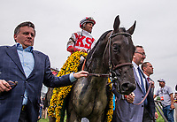 BALTIMORE, MD - MAY 20:  Cloud Computing #2 ridden by Javier Castellano enters the winners circle after winning the Preakness Stakes at Pimlico Race Course on May 20, 2017 in Baltimore, Maryland. (Photo by Alex Evers/Eclipse Sportswire/Getty Images)