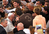 Papa Francesco saluta i fedeli al suo arrivo alla veglia di preghiera per le vittime innocenti della mafia nella parrocchia di San Gregorio VII a Roma, 21 marzo 2014.<br /> Pope Francis greets faithful as he arrives for a vigil prayer for innocent victims of mafia, at the parish church of San Gregorio VII in Rome, 21 March 2014.<br /> UPDATE IMAGES PRESS/Riccardo De Luca<br /> <br /> STRICTLY ONLY FOR EDITORIAL USE