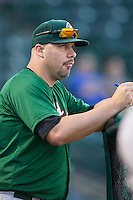 Savannah Sand Gnats hitting coach Valentino Pascucci (16) watches the action from the dugout during the game against the Hickory Crawdads at L.P. Frans Stadium on June 15, 2015 in Hickory, North Carolina.  The Crawdads defeated the Sand Gnats 4-1.  (Brian Westerholt/Four Seam Images)