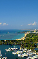 View of magic island, Ala moana beach park and Ala Wai boat harbor from above