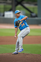 Myrtle Beach Pelicans starting pitcher Jonathan Martinez (34) in action against the Winston-Salem Dash at BB&T Ballpark on April 19, 2016 in Winston-Salem, North Carolina.  The Dash defeated the Pelicans 6-5.  (Brian Westerholt/Four Seam Images)