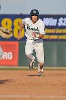 Cedar Rapids Kernels A.J. Murray (25) runs toward third base during the game against the Clinton LumberKings at Veterans Memorial Stadium on April 16, 2016 in Cedar Rapids, Iowa.  Cedar Rapids won 7-0.  (Dennis Hubbard/Four Seam Images)