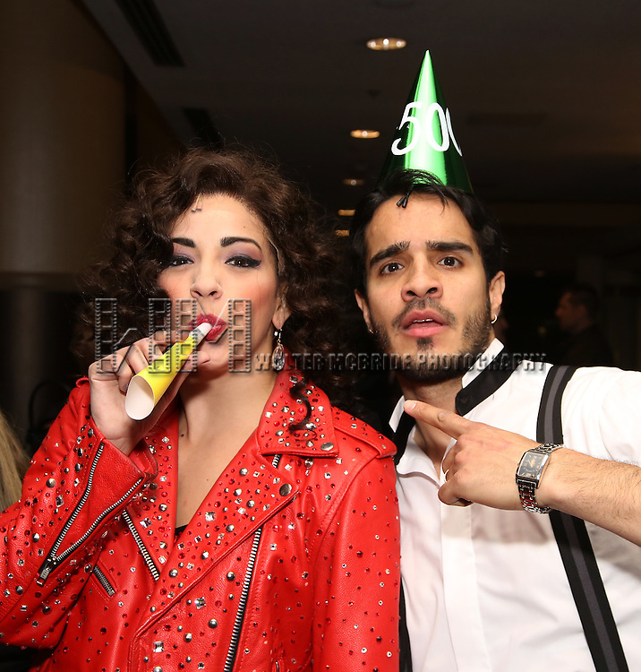 Ana Villafañe and Ektor Rivera of the Broadway production of 'On Your Feet!' celebrate their 500th performance at Marquis Hotel  on January 18, 2017 in New York City.