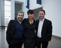 April 19, 2014 - Nathalie Bondil, Director and Curator, Museum of Fine Arts, Montreal (L), John Zeppetellim General Mangaer and Curaror, Museum of Contemporary Arts (M), Montreal and Stephane Aquin, Curator - Contemporary Arts at Museum of Fine Arts, Montreal present 1+ 1 = 1 ; a joint exhibit between the 2 Museums<br /> <br /> <br /> DE Gauche a Droite : Nathalie Bondil, directrice et conservatrice en chef du MBAM , John Zeppetelli, directeur general et conservateur en chef du MAC (M) et Stephane Aquin, conservateur de l&rsquo;art contemporain au MBAM pe&eacute;sente une exposition mettant en sc&egrave;ne un croisement entre les collections d&rsquo;art contemporain des deux institutions : 1 + 1 = 1. Quand les collections du Musee des beaux-arts et du Musee d&rsquo;art contemporain de Montreal conversent.
