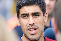 Claudio Reyna speaks to the media after training in Hamburg, Germany, for the 2006 World Cup, June, 6, 2006.