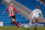 Jade Pennock of Sheffield United and Emily Syme of Aston Villa during the The FA Women's Championship match at the Proact Stadium, Chesterfield. Picture date: 12th January 2020. Picture credit should read: James Wilson/Sportimage