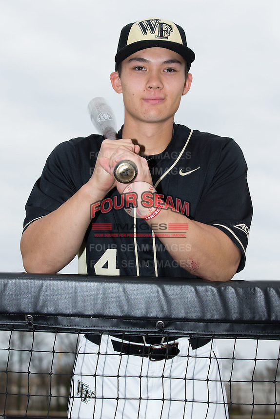 Stuart Fairchild (4) of the Wake Forest Demon Deacons poses for a photo prior to the game against the Miami Hurricanes at Wake Forest Baseball Park on March 22, 2015 in Winston-Salem, North Carolina. (Brian Westerholt/Four Seam Images)