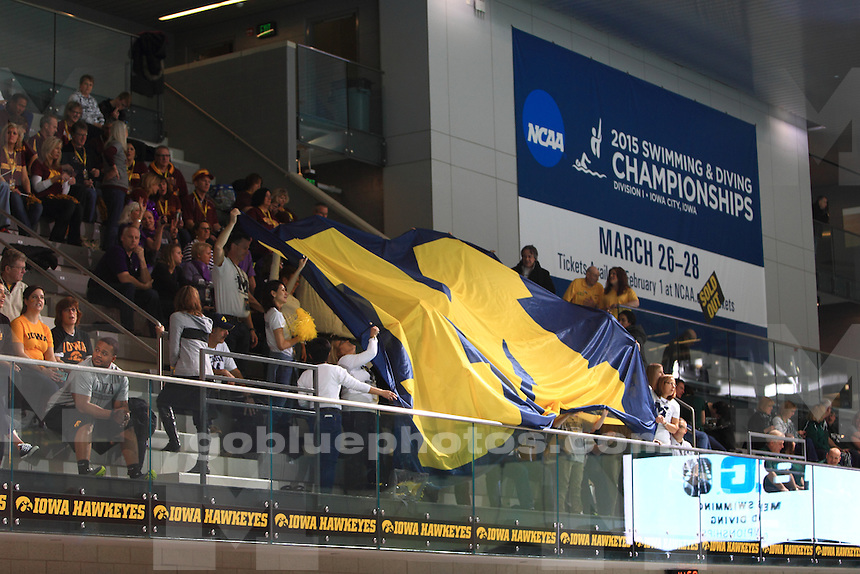 The University of Michigan men's Swimming and Diving Team compete at the 2015 Men's Big Ten Swimming and Diving Championships. Iowa City, IA. February 26, 2015